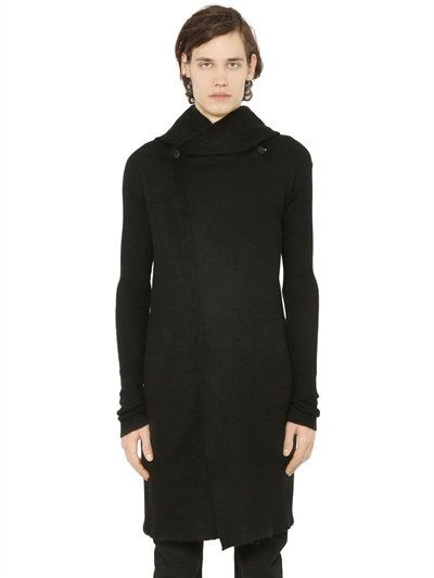 RICK OWENS Hooded Cashmere Long Cardigan, Black. #rickowens #cloth #knitwear
