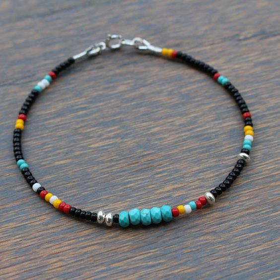 Turquoise Bracelet, Boho Chic Beaded Bracelet, Tribal bracelet, Black and Turquoise Bracelet, Womens Beaded Bracelet, Seed Bead Bracelet Casually chic and fun to wear, these new bracelets by Tam Davis are a colorful way to start your fall fashion style. Designed with Chinese