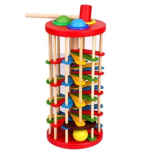 educational wooden toy rotating knock ball the ladder children birthday gift 1pc
