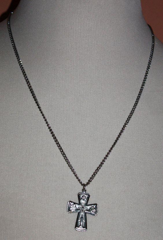 Vintage Necklace Catholic Cross Silver Tone by ilovevintagestuff