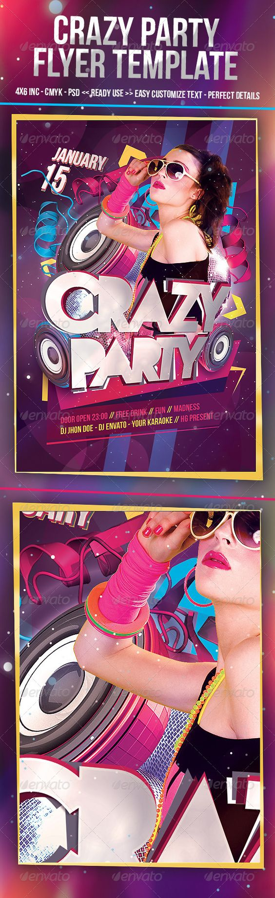 crazy part print template fonts flyer template and techno hi crazy party flyer template inch psd cmyk font perceft details eays change image and text
