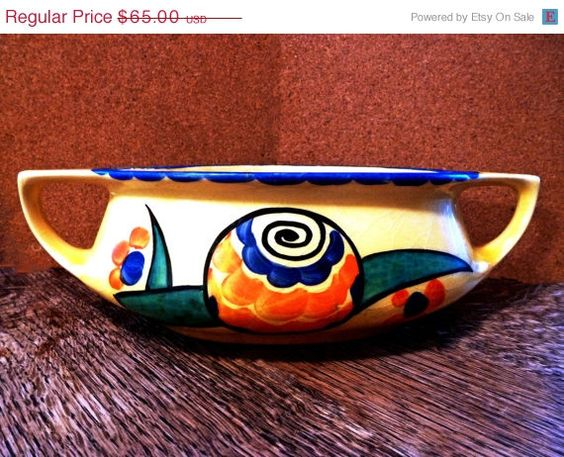 ON SALE Midcentury CZECH Centerpiece Bowl  1960s by Greentiques, $52.00