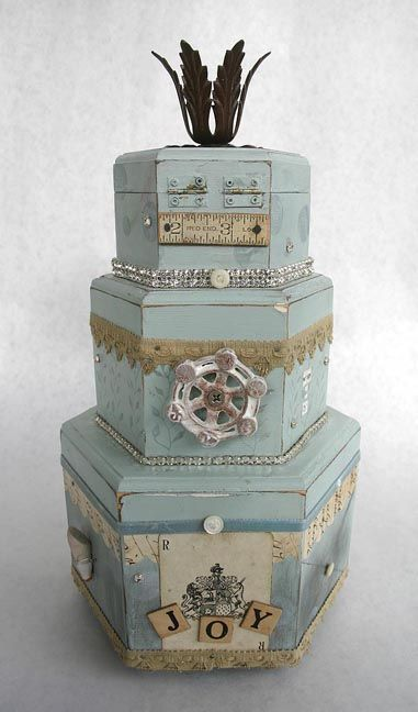 Mixed media cakes: Altered Boxes, Craft, Boxes Hatboxes, Bags Boxes, Color, Media Cake, Blue Cake