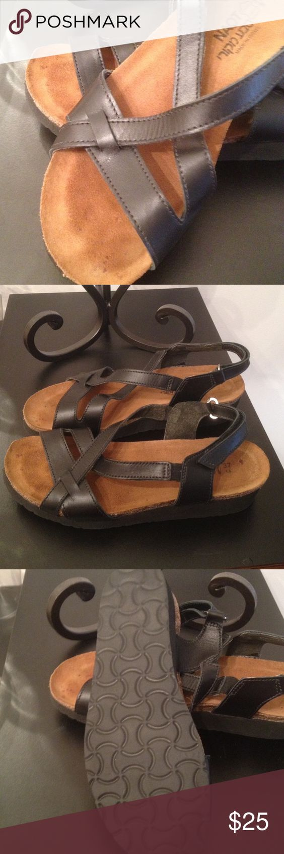 Black sandals size 7 - Naot Black Sandals Made In Israel Size 7 37 Black Strappy Sandals Naot Made
