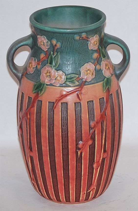 Roseville Pottery Cherry Blossom Pink Vase 626-10 from Just Art Pottery: