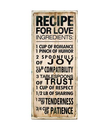 'Recipe for Love' Sign #zulily #zulilyfinds