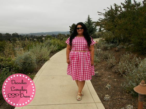 Decades Everyday ESP Dress in pink gingham cotton shirting.