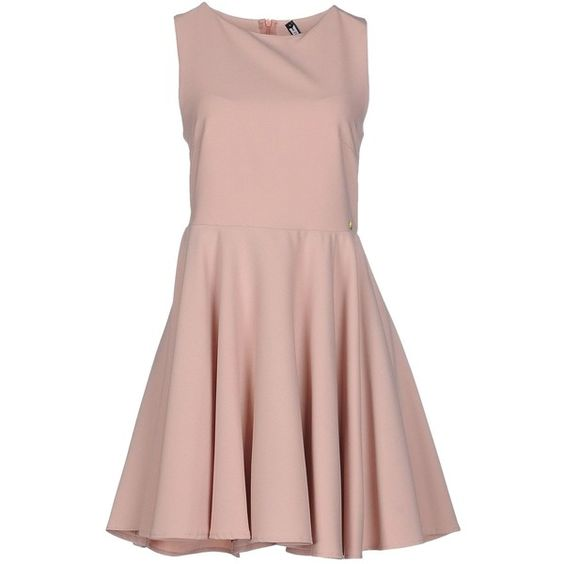 Fly Girl Short Dress ($59) ❤ liked on Polyvore featuring dresses, skin color, zipper mini dress, short dresses, pink mini dress, zipper dress and sleeveless dress