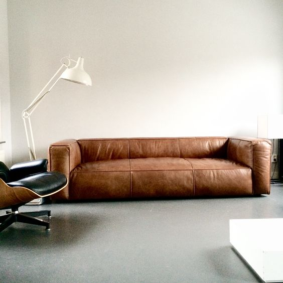 Love This Vintage Design Leather Sofa Cognac Sofa Home