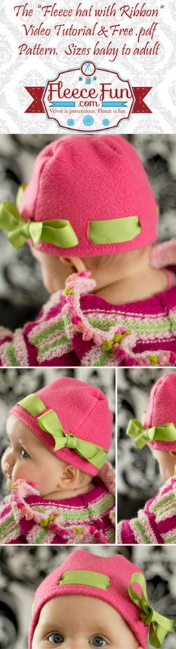 You can make a cute fleece hat with ribbon that looks cute on girls and women alike.  Simple free pattern  is one of MANY patterns on this site.