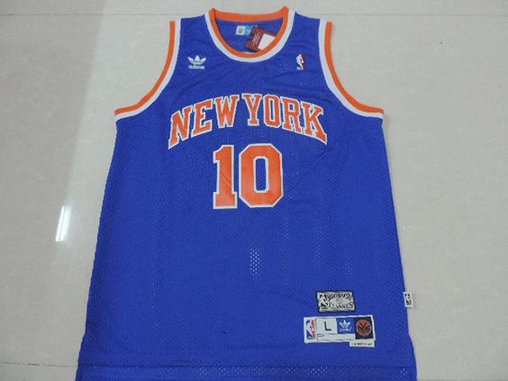 more photos 28525 63785 new york knicks walt frazier 10 blue replica jersey sale