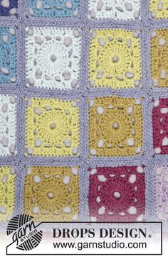 "Crochet DROPS blanket with squares in ""Eskimo"". ~ DROPS Design"