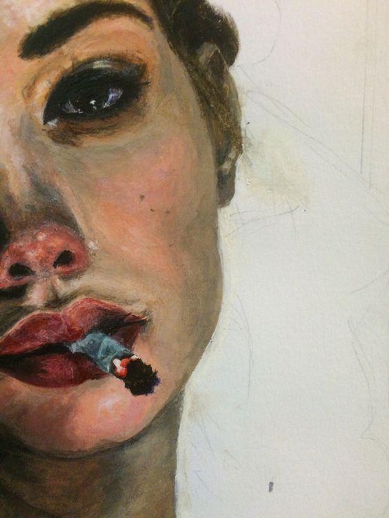 Pintura de uma menina a fumar