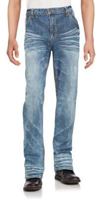 Cotton Blend Faded Jeans