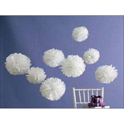 Martha stewart 8 x paper pom poms medium white party for Baby shower decoration ideas martha stewart