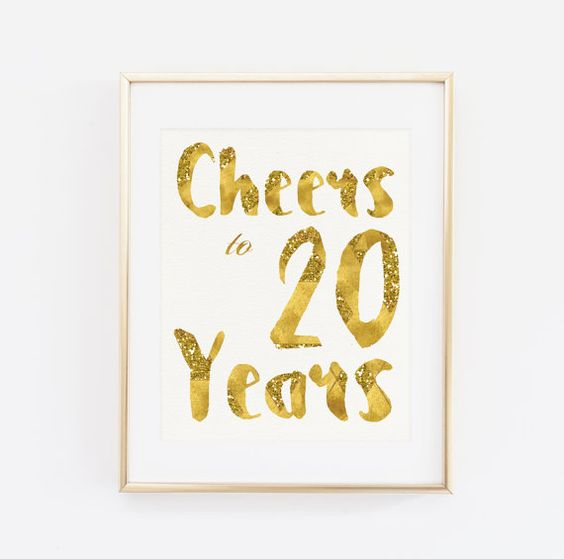 Cheers to 20 years Party Decor Birthday Poster by BaloeDesigns: