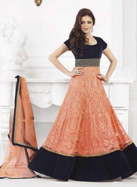 Buy Bollywood Orange Maxi Style Anarkali Dress In Net &amp- Velvet ...