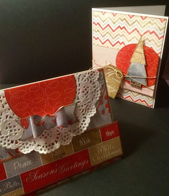 These are two very unique Christmas cards that were made at Hearts n