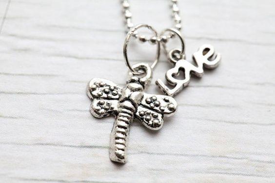 Dragonfly & love Pendant by WhiteLilyDesign, $12.00