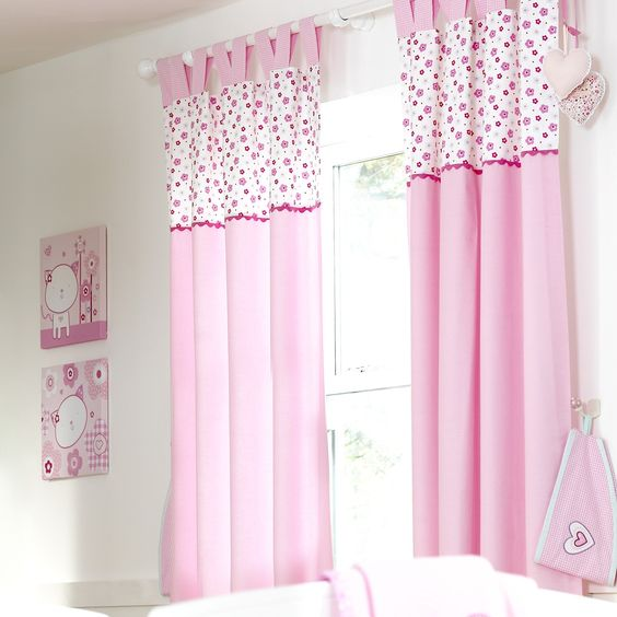 baby girls curtains, baby girls tab top curtains, pink baby ...