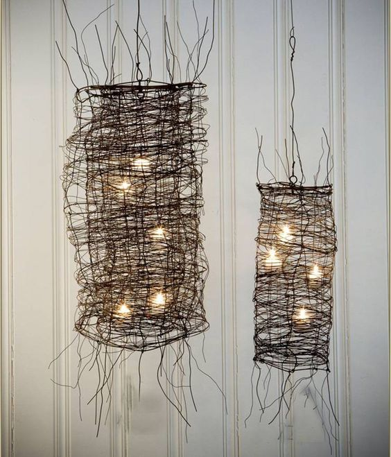 Wire Mesh Chandelier  (take off scraggly wire- fill with string lights for…:
