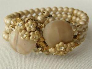 Vintage-Miriam-Haskell-Style-Triple-Row-Pearl-Rhinestone-Flower-Cluster-Bracelet