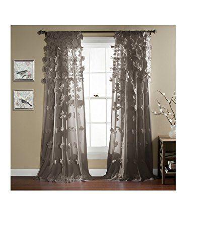 Curtains Ideas 54 inch curtains : Lush Decor Riley Window Curtain, 84 by 54-Inch, Gray Lush Decor ...