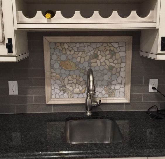 A Backsplash Mural In Quite The Unique Kitchen. Sitting