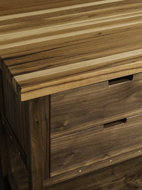 Walnut Kitchen Island Cabinet with Hickory Butcher-Block Top and Wine Storage
