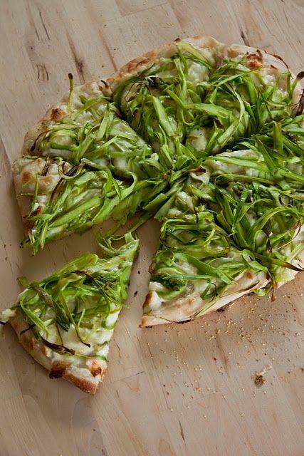 shaved asparagus pizza with lemon + mozzerella