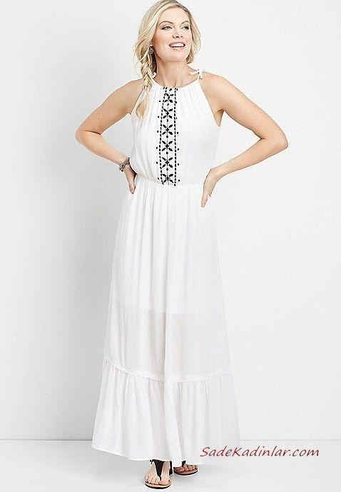 Yazlik Elbise Modelleri Beyaz Uzun Askili Kolsuz Nakis Islemeli Siyah Sandalet Ayakkabi Maksi Elbiseler Elbise Elbiseler