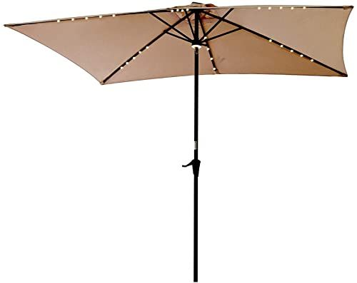 New C Hopetree Rectangular Outdoor Patio Umbrella Solar Led Lights 6 5 X 10 Ft Beige Online Prettytrendyfashion In 2020 Outdoor Patio Umbrellas Patio Umbrella Patio