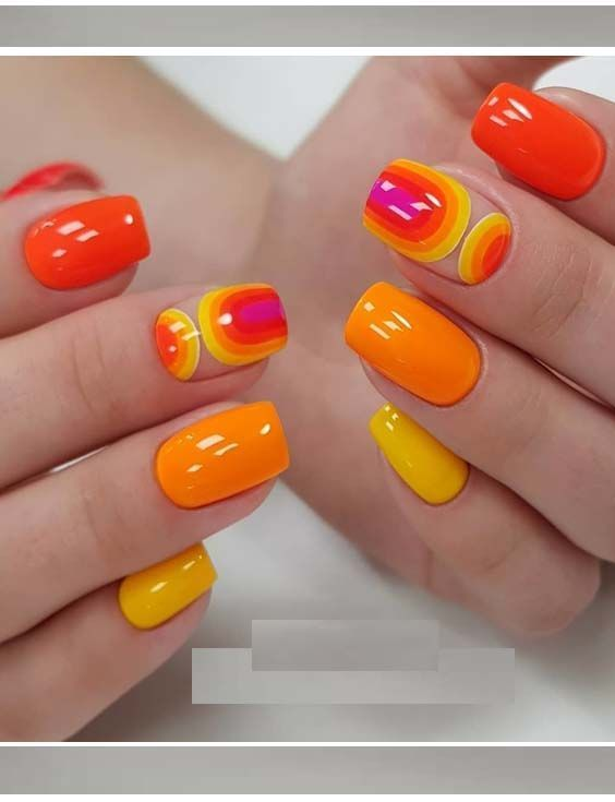 Summer Nail Designs In 2020 Orange Nail Art Nail Art Designs