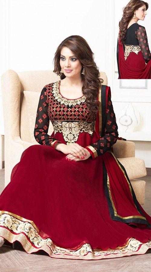 Bipasha Basu In Red Salwar Kameez BR100538