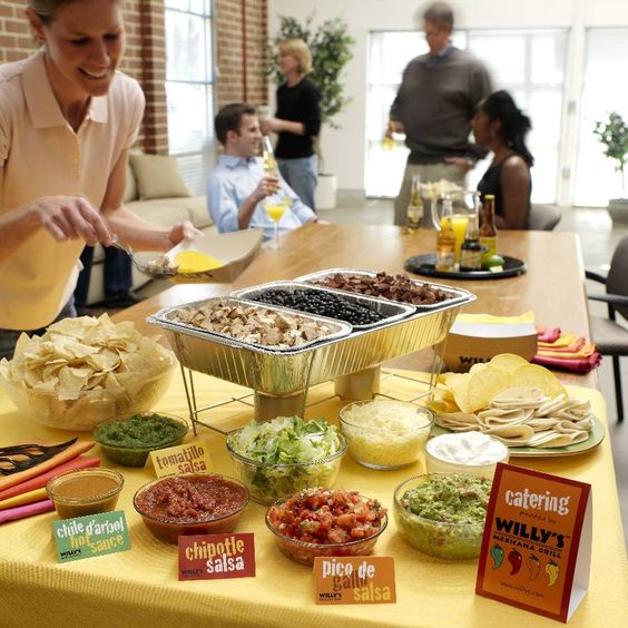 Taco bar party have a variety of salsa options drinky for Food bar party