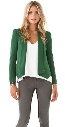 Rebecca Minkoff Becky Jacket: Green Blazer, Minkoff Jacket, Minkoff Becky, Rebecca Minkoff, Colored Blazer, Becky Jacket, Minkoff Green