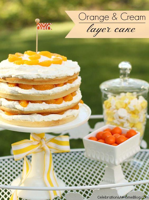 orange & cream layer cake #dessert #cake