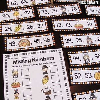 Missing Numbers Thanksgiving Math Center | Cut and paste, First ...