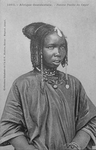 Africa | Fulani girl from Cayor. Senegal | Scanned old postcard; Collection Générale Fortier