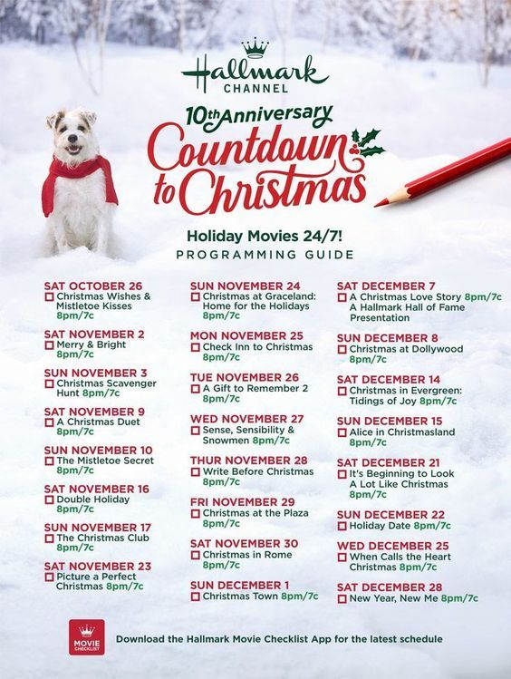 It S Here Save This 10th Anniversary Of Hallmark Channel S Countdown To Christmas Mo Hallmark Christmas Movies Christmas Movies Hallmark Christmas Movies List