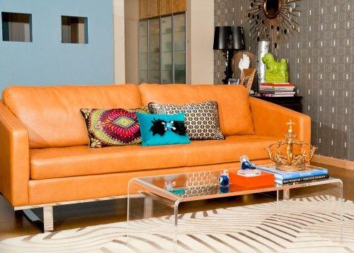 retro sheek living space, orange leather couch