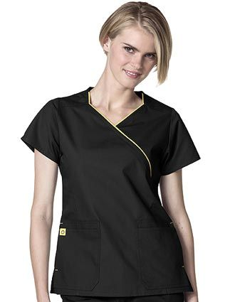 """Style Code: (WI-6066)  This WonderWink """"Lady"""" fit mock wrap top has a WonderWink 'switch' patch pockets.  It has 4 total usable pockets, either top entry or side entry, front princess seams for added shaping, double-stitch detailing at neckline, dropped shoulder, princess seams, sleeves and pockets."""