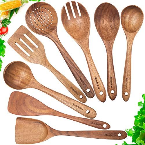 Wooden Spoons For Cooking Nonstick Kitchen Utensil Set Wooden Spoons Cooking Utensil Set In 2020 Bamboo Cooking Utensils Wood Cooking Utensils Wooden Cooking Utensils
