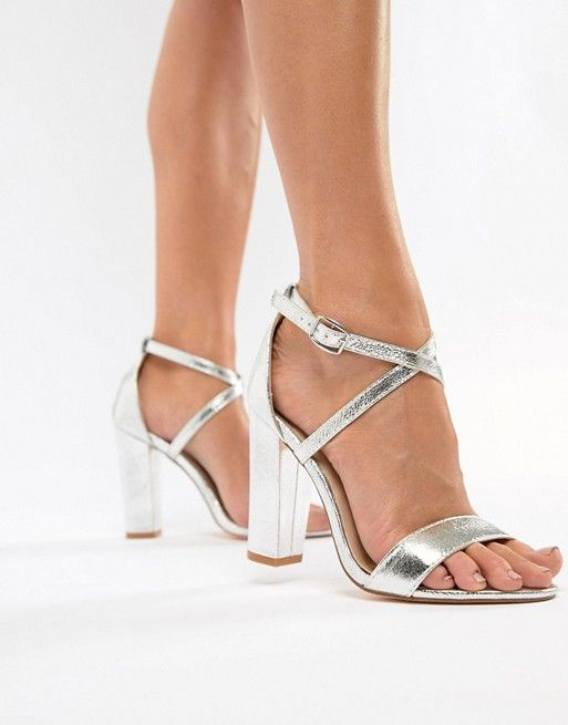 Glamorous Metallic Cross Strap Block Heel Sandals In Silver Asos Silver Strappy Heels Block Heels Sandal Sandals Heels