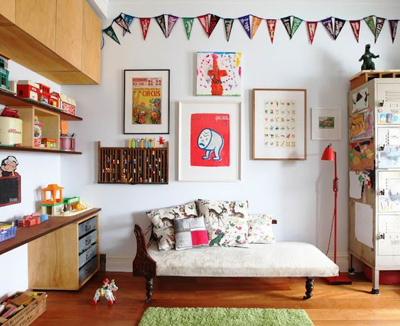 Love the vintagey vibe of this kid's room. Check out the bed photo too.