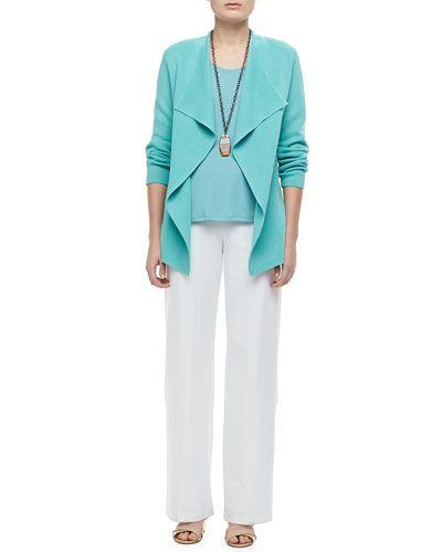 -4S6H Eileen Fisher  Silk-Cotton Interlock Jacket, Women's Modern Wide-Leg Stretch-Crepe Pants, White, Women's  Stretch Silk Jersey Tank, Women's