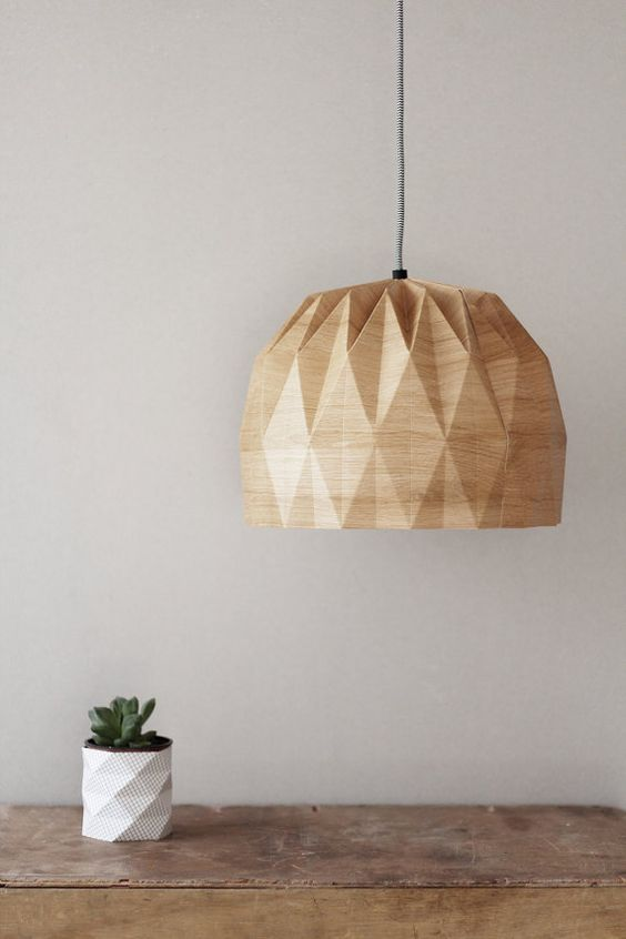 A Beautiful Origami Pendent Lampshade Wood Printed Paper The Cord Is Black And White With A Wall Plug A Antique Lamp Shades Hanging Lamp Shade Origami Lamp