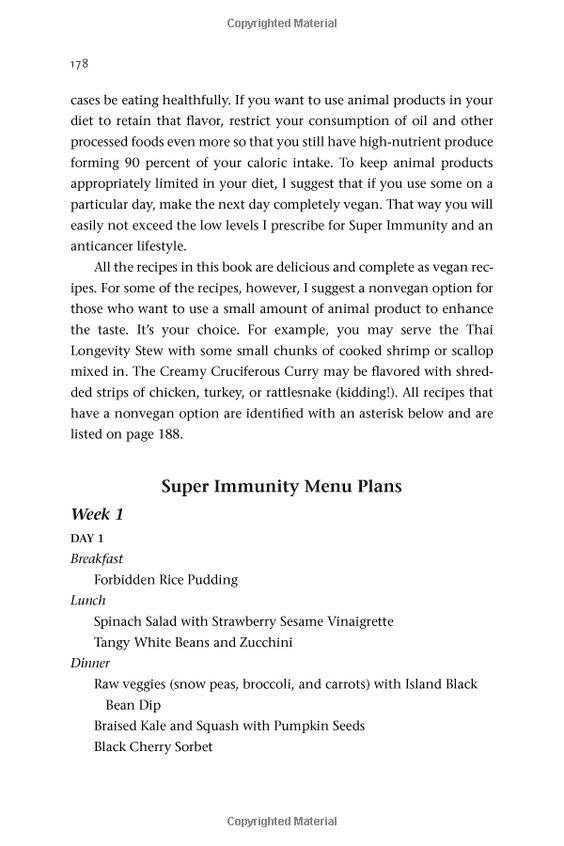 Super Immunity Menu Plan part 1