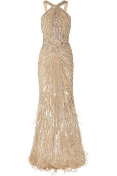 Embellished silk-chiffon gown by Roberto Cavalli