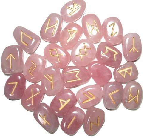 This Rune Set Features The 24 Traditional Runes Of The Elder Futhark And One Blank Stone Carved From Rose Quartz For Use Rune Stones Runes Rose Quartz Gemstone